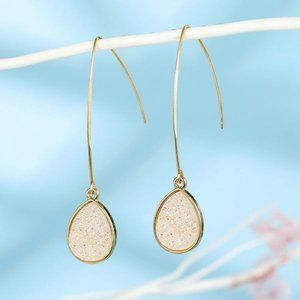 3/$20 New White & Gold Druzy Dangle Earrings